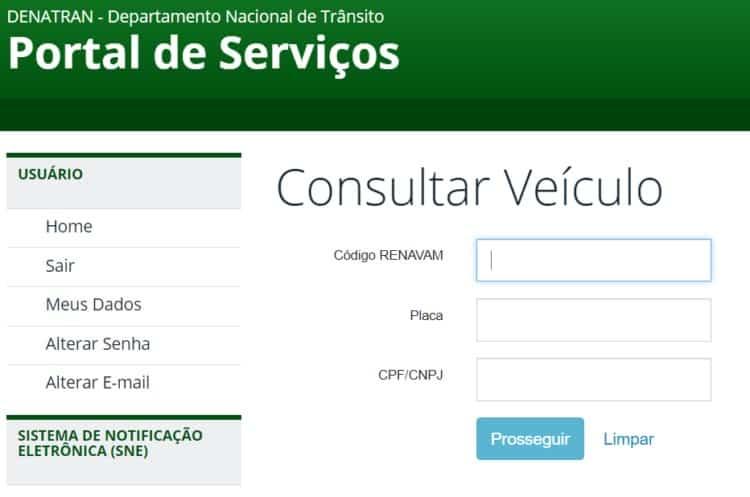 consultar veículo pelo Renavam na internet